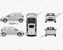 Kia Picanto 2012 with HQ Interior car clipart