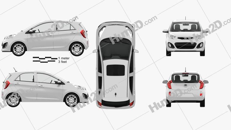 Kia Picanto 2012 with HQ Interior Clipart Image