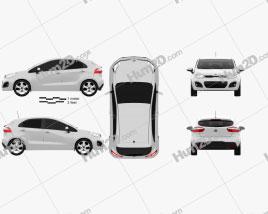 Kia Rio 5-door 2012 car clipart