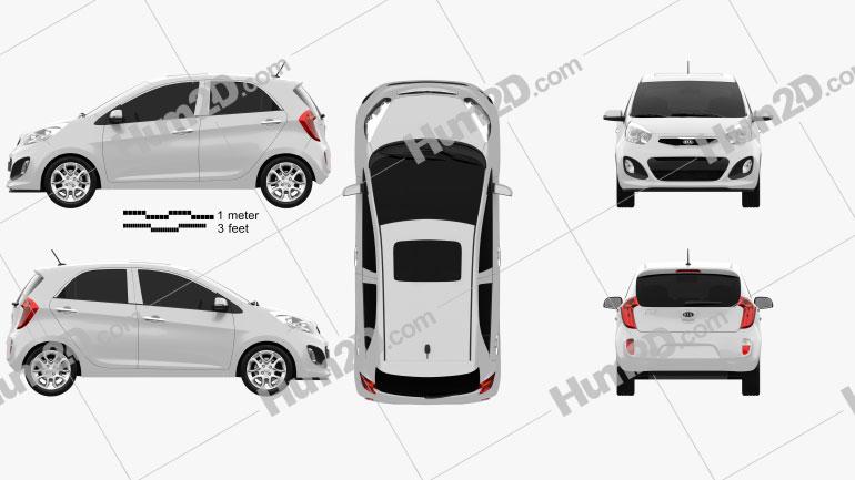 Kia Picanto 5-door 2012 Clipart Image