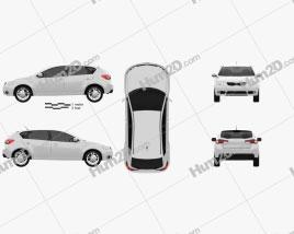 Kia Forte (Cerato, Naza) hatchback 5-door 2012 car clipart
