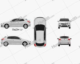 Kia Pro Ceed 3-door hatchback 2011 car clipart