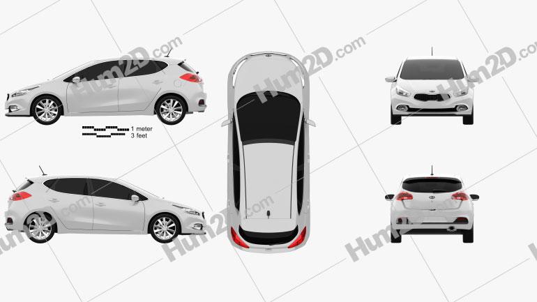 Kia Ceed hatchback 5-door 2013 car clipart
