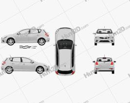 Kia Ceed hatchback 5-door with HQ Interior 2011 car clipart