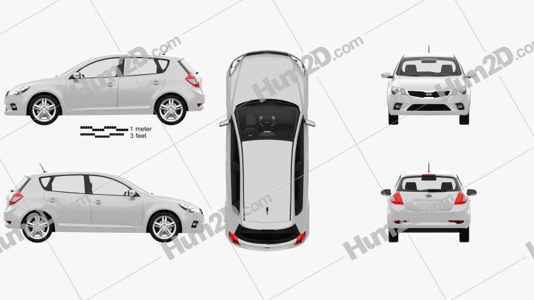 Kia Ceed hatchback 5-door with HQ Interior 2011 Clipart Image