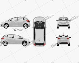 Kia Venga with HQ Interior 2011 car clipart