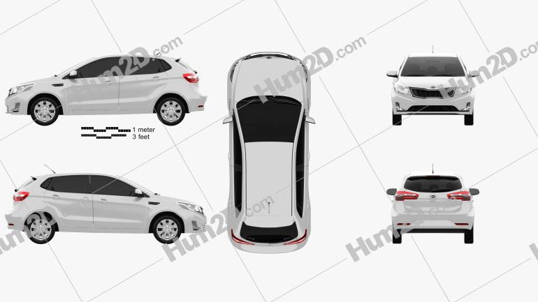 Kia Rio (K2) hatchback 5-door 2012 car clipart