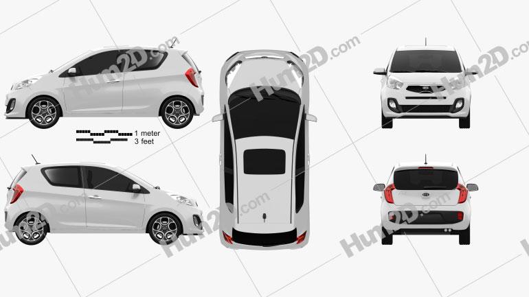 Kia Picanto (Morning) 3-door 2012 car clipart