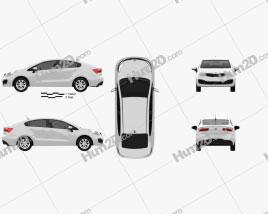 Kia Rio (US) sedan 2012 car clipart