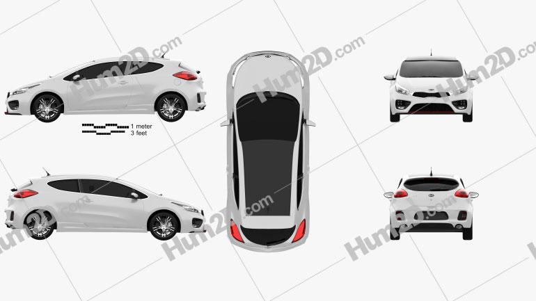 Kia Pro Ceed GT 2014 car clipart