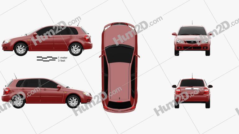 Kia Cerato (Spectra) hatchback 2004 car clipart