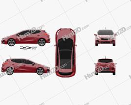 Kia Ceed GT Line hatchback  2015 car clipart