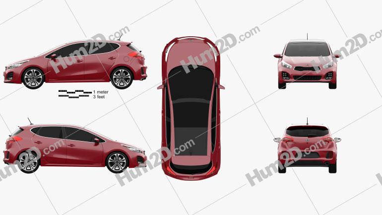 Kia Ceed GT Line hatchback  2015 Clipart Image