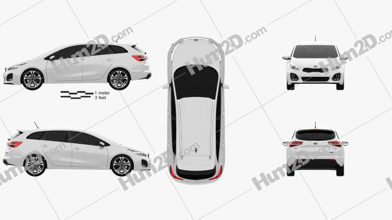 Kia Ceed SW GT Line 2015 car clipart