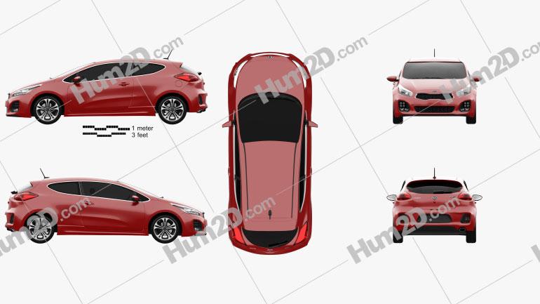 Kia Pro Ceed GT Line hatchback 3-door 2015 car clipart