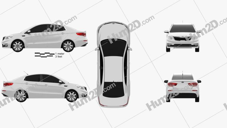 Kia Rio 2015 car clipart