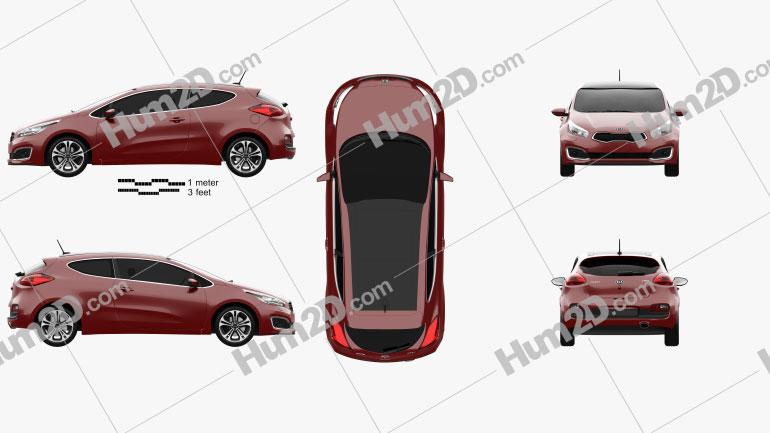 Kia Pro Ceed hatchback 3-door 2015 car clipart