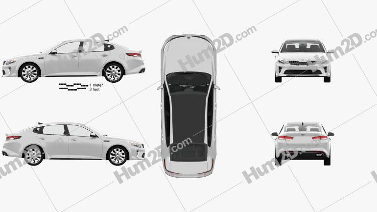 Kia Optima with HQ interior 2016 car clipart