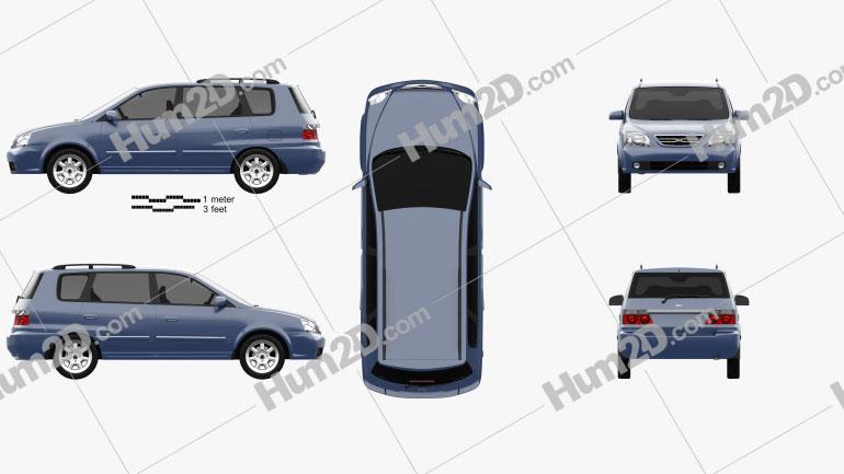 Kia Carens (RS) 2002 car clipart