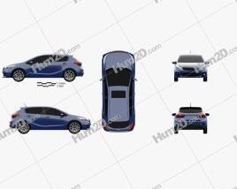 Kia Forte 5-door hatchback 2017 car clipart