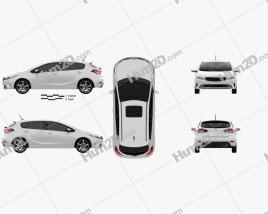 Kia K3 5-door hatchback 2016 car clipart