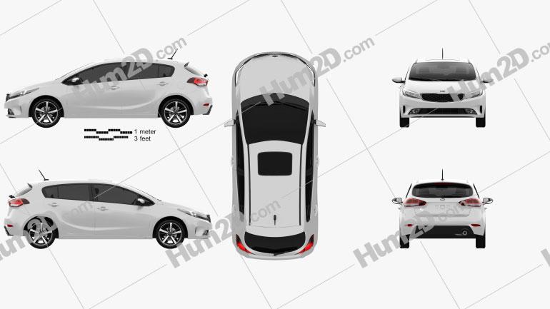 Kia K3 5-door hatchback 2016 Clipart Image