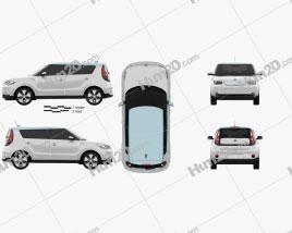 Kia Soul EV 2016 car clipart