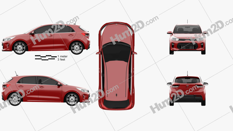 Kia Rio 5-door hatchback 2017 car clipart