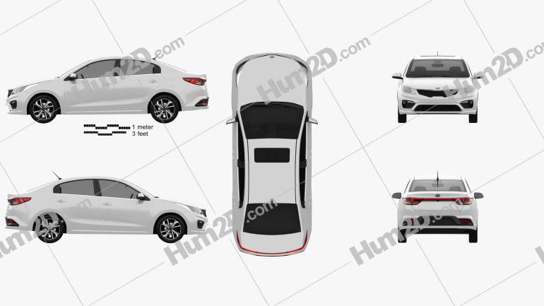 Kia Rio (K2) sedan 2017 car clipart