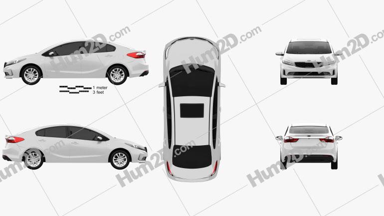 Kia K3 CN-spec sedan 2018 car clipart