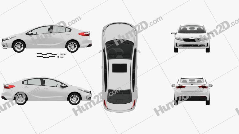 Kia K3 CN-spec sedan with HQ interior 2018 car clipart
