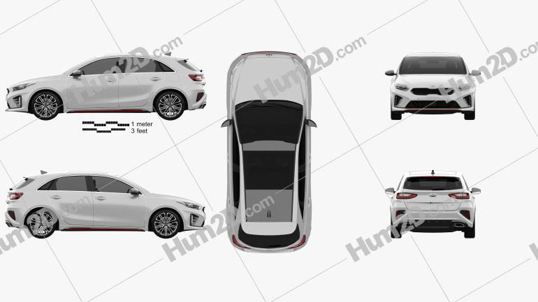 Kia Ceed GT hatchback 2018 car clipart