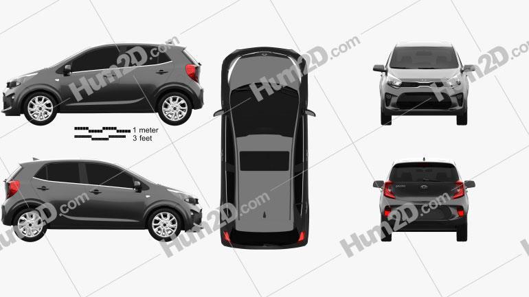 Kia Picanto Comfort Plus 2017 car clipart