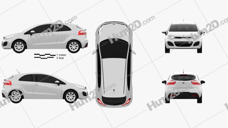 Kia Rio 3-door 2012 Clipart Image