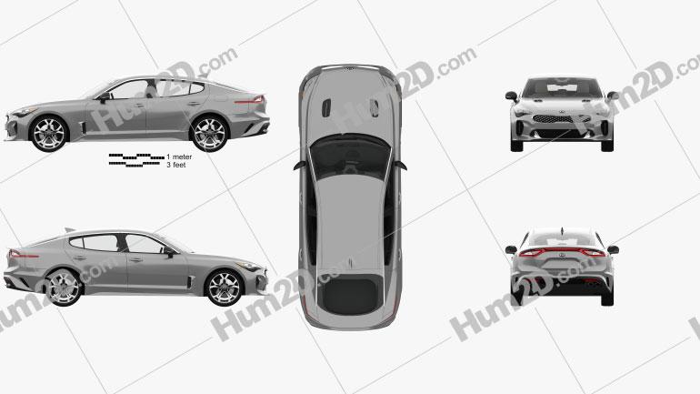 Kia Stinger GT mit HD Innenraum and Engine 2017 Clipart Bild