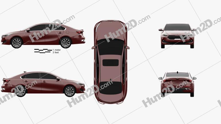 Kia K3 GT-line CN-spec 2020 car clipart