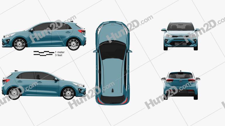 Kia Rio hatchback 2020 car clipart