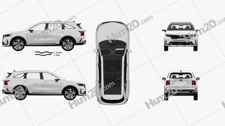 Kia Sorento EcoHybrid with HQ interior and engine 2020 car clipart