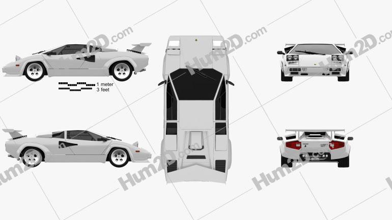 Lamborghini Countach 5000 QV 1985 car clipart