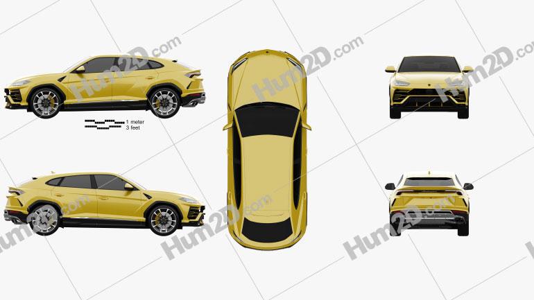 Lamborghini Urus 2019 car clipart