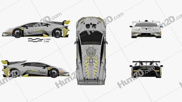 Lamborghini Huracan Super Trofeo Evo Race 2018 car clipart