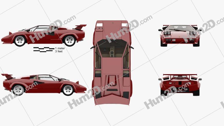 Lamborghini Countach 5000 QV with HQ interior 1985 car clipart