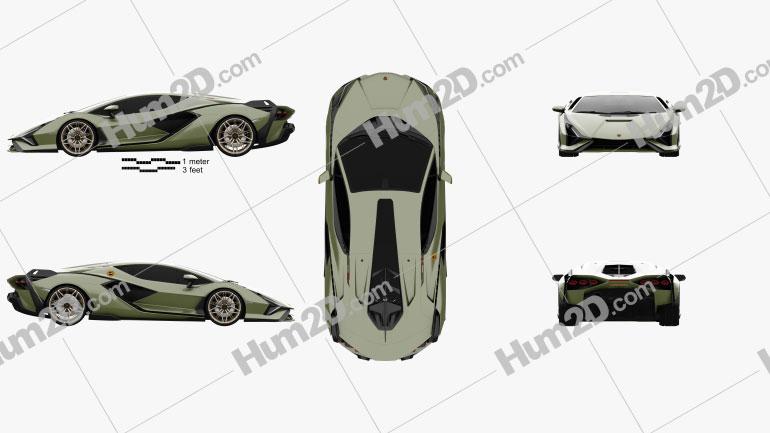 Lamborghini Sian 2020 car clipart