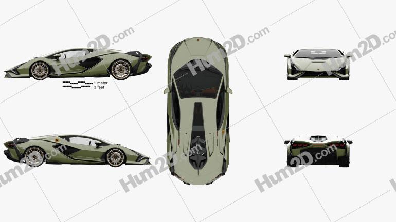 Lamborghini Sian with HQ interior 2020 car clipart