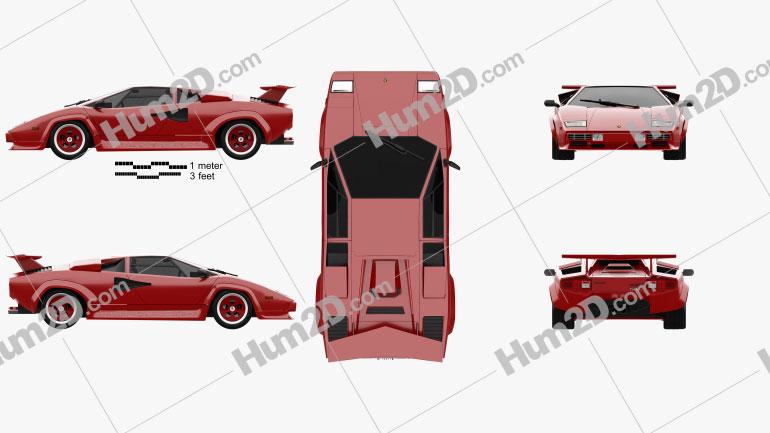 Lamborghini Countach Turbo 1985 car clipart