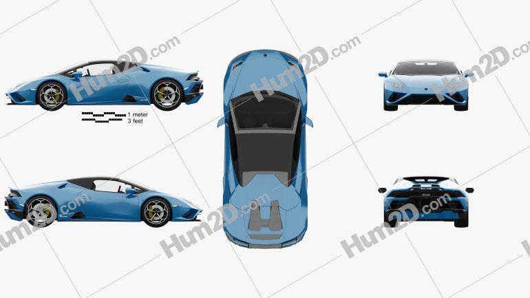 Lamborghini Huracan EVO RWD Spyder with HQ interior 2020 Blue car clipart