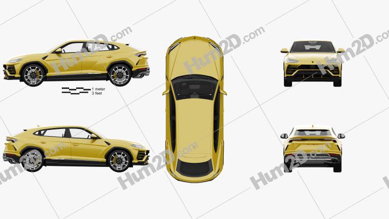 Lamborghini Urus mit HD Innenraum und Motor 2019 car clipart