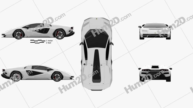 Lamborghini Countach (LPI 800-4) 2022 car clipart