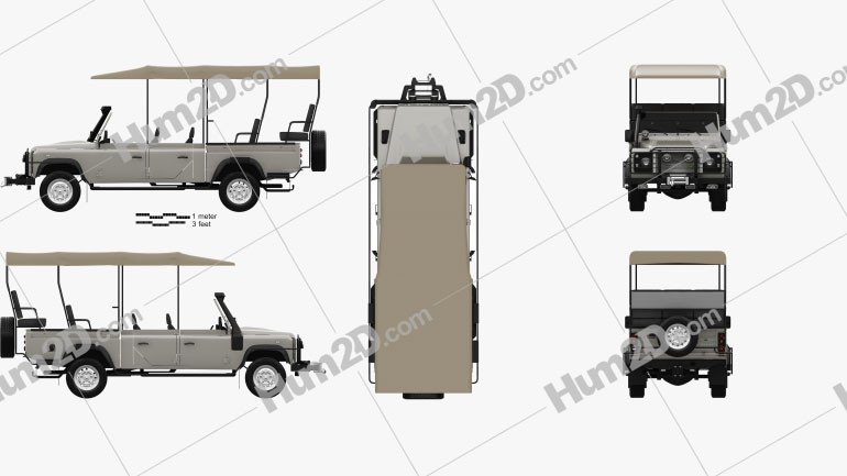 Land Rover Defender Safari Game Viewing 1990 car clipart