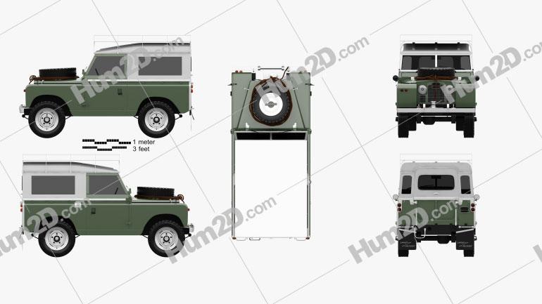 Land Rover Series IIA 88 Pickup 1968 car clipart
